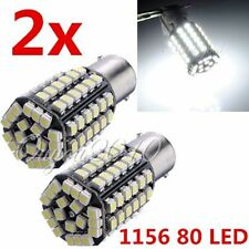 2x Car 1156 BA15S 80 SMD 3528 LED Xenon White Tail Turn Signal Light Lamp Bulb