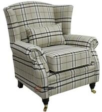 Ashley Fireside High Back Wing Armchair Beige Cream Check Fabric