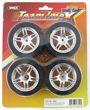 26mm Front & 30mm Rear Foam RC Tires on Chrome Rims (Set of 4) - IMEX #7600