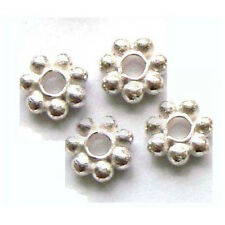 40x  5mm bright Sterling Silver solid 925 Daisy Spacer Bead flat flower  S35