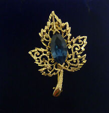 Marquis Blue Stone Maple Leaf Brooch In 9ct Yellow Gold