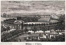Milano: L'Arena Civica. Mediolanum. Lombardia. Stampa Antica + Passepartout.1891