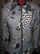 M BLACK WHITE western show shirt Horsemanship rail pleasure UNIQUE pattern