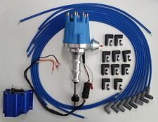 FORD Y Block 272-292-312 BLUE Small HEI Distributor, Coil + Spark Plug Wires 90s