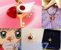 Card Captor Sakura Kinomoto Star Wand Key Necklace Leather Chain Pendant Beak