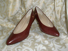 VTG E AIGNER BURGUNDY LEATHER CLASSICS MULES PUMPS 8.5 M GAIL I  NEVER WORN