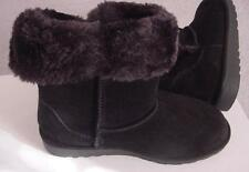 NEW Black Suede Leather $98 AMERICAN HERITAGE Faux FUR BOOTS Shoes -5 M  *NWT*