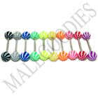 W034 Acrylic Tongue Rings Barbell Curved Stripes LOT 10