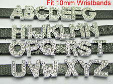 "26 Silver Alloy Rhinestone Alphabet Letter ""A-Z"" Slide Charm Fit 10mm Wristbands"