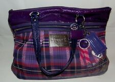 Coach Poppy Large Tote Bag Purse Purple Pink Sparkly Plaid 4 Tags VGC