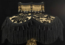 VICTORIAN LAMP SHADE BLACK GOLD VELVET FABRIC SILK BEAD