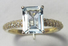Vintage 14ct Gold Rectangle Baguette Cut Natural Aquamarine 1CT & Diamond Ring