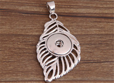 DIY 1pcs Feather Alloy Pendant With Charm Necklace Fit Snap Chunk Button NEW  ##