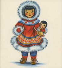 VINTAGE NATIVE ESKIMO GIRL MOCCASINS COSTUME WITH DOLL LITHO NOTE CARD ART PRINT
