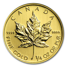 1/4 oz Gold Canadian Maple Leaf Coin - Random Year Coin - SKU #11