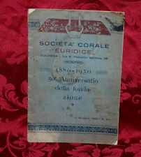 Libro Antico Bologna 1930 Società Corale Euridice1880-1930 50° Anniversario