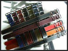 22mm Black-Orange stitch NATO g10 Oil Leather German Flieger strap UTC IW SUISSE