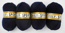 Roly-Sport Yarn - 4 Skeins - Navy Blue Color #6030 - 100% Acrylic