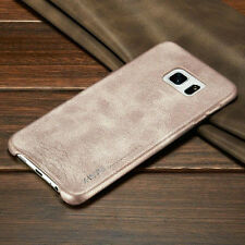 Luxury Retro Vintage Slim Genuine Soft PU Leather Back Case Cover For Samsung
