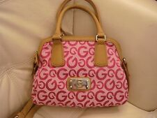 NEW WT SMALL PINK FABRIC GUESS PURSE CROSS BODY TAN LEATHER LIKE TOTE BAG DARENA