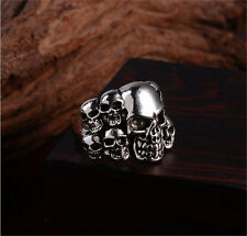 Men's Silver Stainless Steel Silver Fashion Gothic Skull Male Finger Ring Size-9