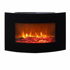 Wall Mounted Electric Fireplace Glass Heater Fire Remote Control LED Black 1.8KW