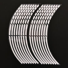 16 Pcs White Car Wheel Stickers Reflective Safety Rim Tape Stripe Decal Cool