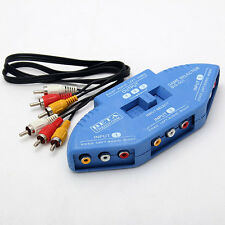 New 3 Way Port Audio Vedio AV RCA Game Selector Switch Box Splitter for PS2 xBox