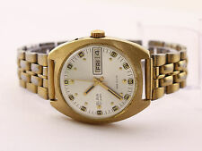 Slava USSR men's automatic gold plated watch day/date. Cal.2427, 27J. White dial