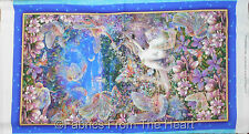 "Dreamland Magical Fairy Fairies Unicorn Castle 23""x44"" Panel QT Cotton Fabric"