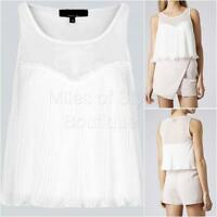 TOPSHOP Ivory Chiffon Pleat Crop Top Sleeveless Scoop Neck Party Size 10 - 16