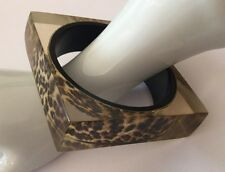 Square Inlaid Fabric Vintage Bangle Chunky Acrylic Animal Jungle Print Bracelet