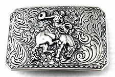 BUCKING BRONCO RODEO WESTERN COWBOY HORSE RIDER SILVER TROPHY BELT BUCKLE NEW