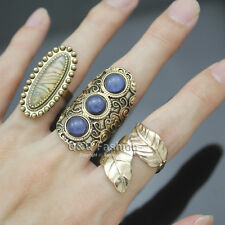 Stack 3 Gold Tribal Southwest Feather Snake Eye Swirl Stone Gypsy Band Ring