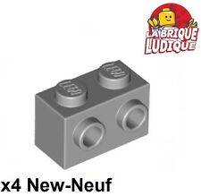 Lego - 4x Brique Brick Modified 1x2 studs 1 side gris/light b. gray 11211 NEUF