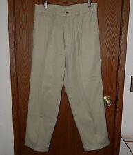 Bugle Boy Men's 34W/28L Tan Khaki Chino Pleated Four Pocket Pants