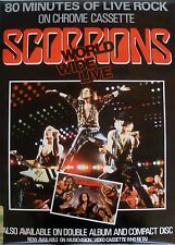 RARE SCORPIONS WORLD WIDE LIVE 1985 VINTAGE VHS MUSIC CONCERT STORE PROMO POSTER