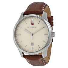 Tommy Hilfiger Andre Cream Dial Brown Leather Mens Watch 1710282