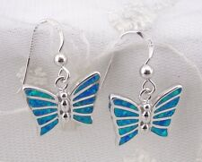 Butterfly Earrings Blue Lab Created Opal Inlay 925 Sterling Silver New