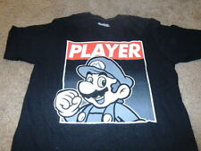 New Super Mario Player Mens KO Nintendo Black T-Shirt  Size Medium M