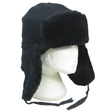 Genuine Soviet Army BLACK FAUX FUR USHANKA - 56cm - Warm Winter Cossack Cap Hat