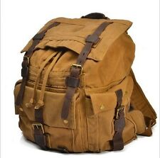 Mens Vintage Canvas Leather Military Travel Backpack Rucksack School Bag Satchel