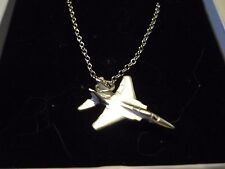 """McDonnell Douglas F-15 Eagle c144 On 20"""" Silver Plated Curb Chain Necklace"""