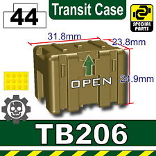 Dark Tan TB206 Military Transit case compatible with toy brick minifigures