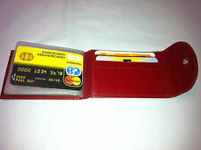 SL Canada Leather Mini Wallet w/Credit Card & Business Card Holder- Red (AEC-23)
