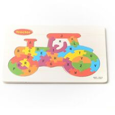 Tractor Kids Toy Wooden ABC Alphabet Educational Learning Child Puzzle Jigsaw
