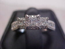 *ESTATE*THREE PRINCESS CUT DIAMOND HALO ENGAGEMENT RING 14K WHITE GOLD sz7 GIFT