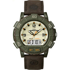 Timex Men's Expedition | Double Shock Green Case Brown Leather Strap | T49969
