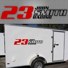 """2 Personalized Race Trailer Graphic. Racing Trailer Decal 48"""" x 12"""""""