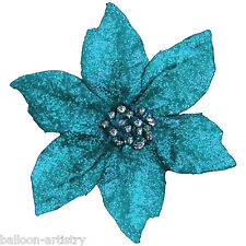 Christmas BLUE Large 20cm Poinsettia Glitter Flower Clip On Decoration